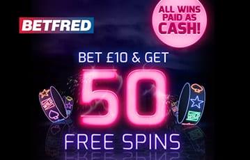 Betfred 50 free spins casino bonus