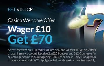 BetVictor UK casino bonus