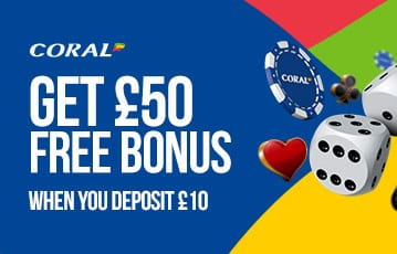 Coral £50 free casino bonus