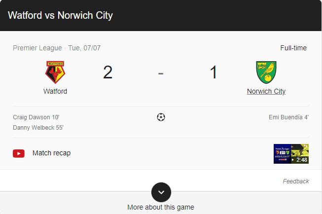 watford beat norwich