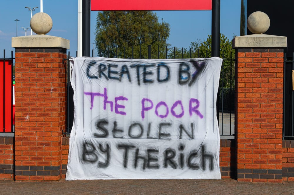 football protest banner