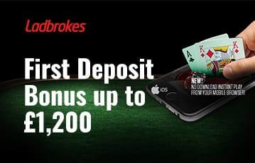 Ladbrokes poker bonus up to £1200