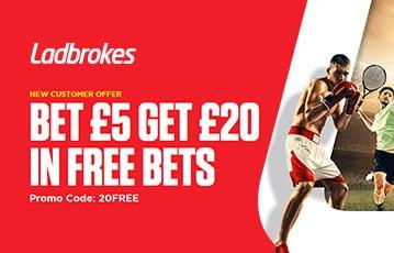 Ladbrokes bet £5 get £20 free bets sport bonus