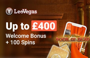 Up to £400 casino bonus + 100 spins