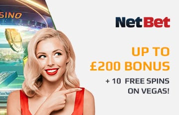 NetBet bonus up to £200 + 10 free spins
