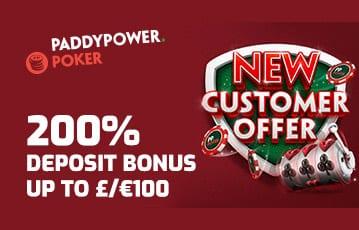 Paddypower 200% deposit bonus for poker