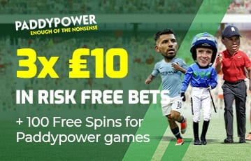 Paddypower 3 £10 risk free bets