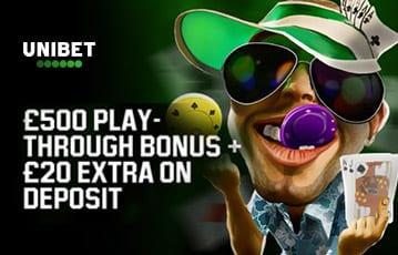 Unibet £500 poker play through bonus