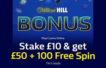 William Hill £50 + 100 free spins casino bonus